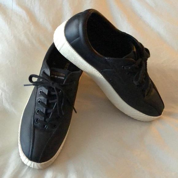 Tretorn Nylite Black Leather Sneakers